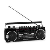 auna Duke MKII Kassettenrekorder - Bluetooth , Direct Encoding von Kassette auf USB/SD , 4-Band Radio: FM, MW, SW1, SW2 , Teleskopantenne , USB , SD Card Slot , Netz- oder Batteriebetrieb , schwarz