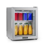 Klarstein Brooklyn 24 Silver Minibar Mini-Kühlschrank ,thermoelektrisches Kühlsystem ,24 Liter Fassungsvermögen ,3-stufige Kühlung: bis 12 °C ,EcoExcellence System:  ,geräuschlos: 0 dB ,flexibler Kunststoffboden ,LED-Licht ,Panorama-Glastür ,silber