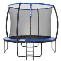 SONGMICS Trampolin Ø 366 cm bis 150kg sicher Outdoor mit Leiter + Sicherheitsnetz und gepolsterten Stangen Sicherheitsabdeckung rundes Gartentrampolin schwarz blau STR12BK