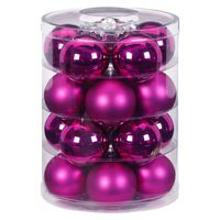 Weihnachtskugeln Glas 6cm, 20 Stück, Farbe:Paradise Purple - lila fuchsia magenta