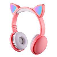 LED Cat Ear Kopfhörer RGB Farbe Bluetooth 5.0 Headsets, Noise Cancelling, faltbar mit Mikrofon für Erwachsene Kinder, Farbe: Rosa