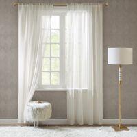 Gardinen Schals in Leinen-Optik Leinenstruktur Vorhänge Transparent Vorhang Doris Off White, kurz (2er-Set, je 175x140cm)