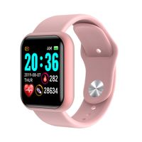 Y68 Wasserdichtes Herzfrequenz-Blutdruckmessgerät Smart Bracelet für iOS Android , Pink
