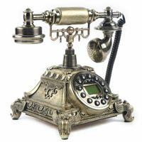 Retro Telefon Antikes Nostalgisches Braune Festnetztelefon Tisch Haustelefon Deko