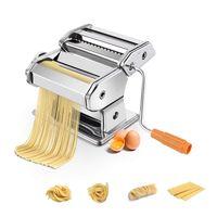 COSTWAY Manuelle Nudelmaschine Pastamaschine Pastamaker Spaghetti Nudeln Pasta Maker Küche Maschine Edelstahl Silber/Breite: 2mm und 4,5mm / 6 Einstellbare Staerken
