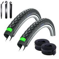 Angebot-Set / 2 x Schwalbe Marathon Green Guard Fahrradreifen Reifen in Schwarz mit Reflex 37-622 (28 x 1.40) + 2 Schwalbe Schläuche AV17 inkl. 3 Reifenheber
