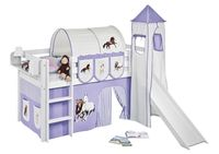 Lilokids Spielbett JELLE Pferde Lila Beige - Hochbett - weiß - mit Turm, Rutsche und Vorhang - Maße: 113 cm x 208 cm x 98 cm; JELLE3054KWTR-PFERDE-LILA
