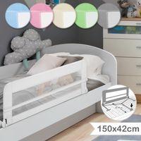 Infantastic® Bettgitter für Kleinkinder - 150/42 cm, Weiß, Klappbar, Tragbar, Faltbar - Rausfallschutz, Babybettgitter, Kinderbettgitter, Bettschutzgitter