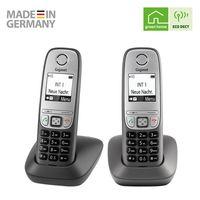 Gigaset Comfort Duo – 2 schnurlose Telefone für Büro und Zuhause mit großem Display und Freisprechfunktion – einfache Bedienung, anthrazit-grau