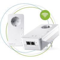 devolo Magic 1 Wifi: starker Powerline-Ergänzungsadapter mit WLAN-Funktion, bis 1200 Mbit/S Wifi AC, 2x Fast Ethernet LAN-Anschluss, integrierte Steckdose, Mesh WiFi, Access Point, weiß, Farbe:Weiß