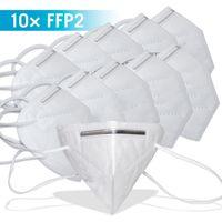 Atemschutzmaske Maske Staubmaske Schutzklasse KN95 Mundschutz, Menge:10