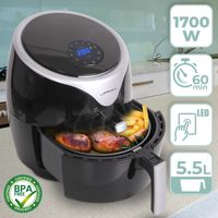 Jago® Heißluftfritteuse - 1700 W, 5.5 L Fassungsvermögen, LED Touchscreen Display, Ohne Fett, 60 Min Timer, 7 Garprogramme, Schwarz - Heißluft Fritteuse, Aero Fryer, Mini-Backofen, Air Fryer