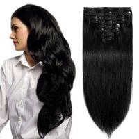S-noilite Clip in Extensions Echthaar Haarverlängerung Haarteil 8 teiliges SET Remy Haar Schwarz 60 cm