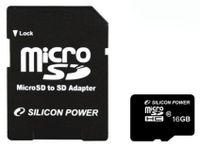 SILICON POWER - Flash-Speicherkarte ( microSDHC/SD-Adapter inbegriffen ) - 16 GB - Class 10 - microSDHC
