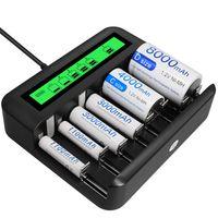 Akku Ladegerät-Schnell Batterie ladegerät-für AA /AAA /C /D NI-Mh Akku mit Type C Input -schnelle Aufladung, automatische Erkennung & Abschaltung, LCD Anzeige Batterienladegerät