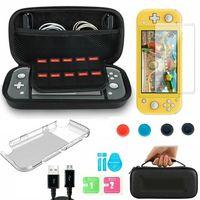 Spielzubehörset für Nintendo Switch Lite Tragetasche + Shell Cover + Schutz aus gehärtetem Glas + Wippkappe