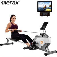 Merax Rudergerät Klappbar Rudermaschine Fitnessgeräte mit 8 Magnetwiderstandsstufen und LED-Display, leiser Magnetbremssystem, Max Benutzergewicht 120kg, Schwarz