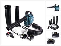 Makita DUB 363 G2V Akku Gebläse / Laubsauger 36 V ( 2x 18 V ) Brushless + Absaug Set + 2x Akku 6,0 Ah - ohne Ladegerät