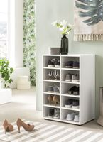 Wilmes Schuhregal mit 10 Fächern, Weiß Melamin Nachbildung