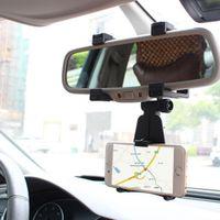 Verstellbar Auto Handyhalterung auf Rückspiegel GPS-Halter Telefonhalter, Universal KFZ Halterung für Smartphones - Schwarz