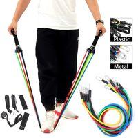 11 Stück Fitnessbänder Set - Ideal für Muskelaufbau Physiotherapie Yoga Gymnastik Fitnessband Gymnastikband Widerstandsbänder - Metall
