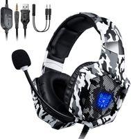 Over Ear Kopfhörer Onikuma K8 PS4 Gaming Headset, RGB-LED-Licht, Mikrofonrauschuntersteuerung, für Nintendo Switch / Xbox One S / Playstation / PC / Smartphone / Laptop / Computer