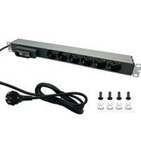 """Steckdosenleiste Aluminium 6-fach für Netzwerkschrank 19"""" mit Schalter Serverschrank Netzwerk Server Schrank EDV"""