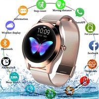 Mode Smart Watch Frauen KW10 IP68 wasserdicht Multisportarten Schrittzähler Herzfrequenz Smartwatch Fitness Armband für Damen (Farbe: rosegold)