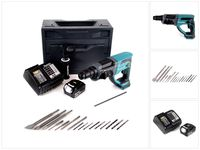 Makita DHR 202 ST1X Akku Kombihammer 18V 2,0J SDS Plus + 1x Akku 5,0Ah + Ladegerät + 16tlg. Meißel Bohrer Set + Makbox