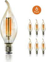 ZMH 6X Edison Glühbirne E14 LED Retro Kerze Glühlampe Kerzenbirne C35L Warmweiß 4W Kerzenlampe