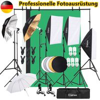 Professionelles Fotostudio-Set 2 x 3 m Hintergrund-Support-System 3 x Hintergrund-Stoff-Support-System Softbox-Dauerlicht-Set Regenschirm mit 2-m-Stativ und Schutztasche für Porträts Produktfotografie