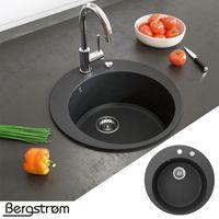 Bergström Granit Spüle Küchenspüle Einbauspüle Spülbecken Rund 505mm Schwarz