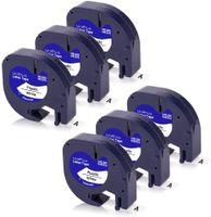 Xemax 6x Kompatible Band als Ersatz für Dymo Letratag Etikettenband 91221 91201 S0721660 für Dymo LetraTag LT-100H LT110T LT-100T XR QX50 Etikettendrucker, 12mm x 4m, Schwarz auf Weiß