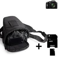 K-S-Trade Schultertasche für Panasonic Lumix DC-FZ82 Colt Kameratasche für Systemkameras DSLR DSLM SLR, Bridge etc., + 16GB Speicherkarte