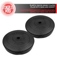 Physionics® Gewichtsscheiben - 2 x 7.5 kg,  Ø 27 mm, Kunststoff, Schwarz - Gewichte Hantelscheiben