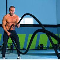 1200x3.8cm Schwungseil Trainingsseil Battle Rope Schlangenseil  Sportseil Schlagseil  für Sprung- Kletter- CrossFit-Training Schwarz