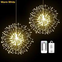 198LEDs Fernbedienung Wasserdichte Löwenzahn Feuerwerk LED Kupferdraht Streifen Lichterketten - Warmweiß