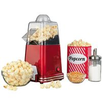 GOURMETmaxx Popcorn Maschine Maker Automat 1000W Rot Retrolook Heißluft ohne Öl
