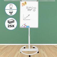 Jago® Flipchart mit Rundfuß - 60 x 90 cm, höhenverstellbar, Staffelei, Stiftablage, mit zahlreichem Zubehör - Magnetisches Whiteboard, Magnettafel, Präsentationstafel, weiße Magnettafel