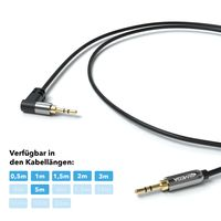 JAMEGA – 1,5m AUX Kabel | Stereo Audio Klinkenkabel 3,5mm Klinkenstecker 90° gewinkelt auf 3,5mm Klinkenstecker kompatibel mit Kopfhörer, Echo Dot, Heim/Auto Stereoanlage, iPhone, iPad, uvm.