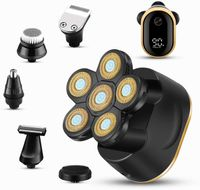 Glatzkopfrasierer - 6 in 1 Elektrorasierer für Männer - LED-Display-Rasierer für Männer - Multifunktionaler Elektrorasierer für Männer Grooming Kit - Wasserdichte kabellose Kopfrasierer für Männer mit Glatze