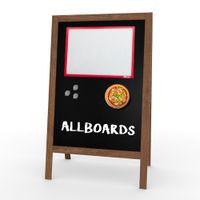 ALLboards Magnetischer Magnetic Kundenstopper mit lackiertem Holzrahmen 118x61cm, Werbetafel, Gehwegaufsteller, Aufsteller, Straßenreiter, Kreide, Magnetisch