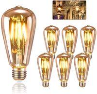6 Pack Edison Glühbirne E27, KIPIDA Retro Glühbirne 4W LED  Weihnachten Dekoration usw, Amber Warm