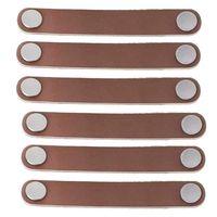 6 Stück Leder Möbel Griff Modern Style Leder Griff Türzuziehgriff, Echtleder und Aluminiumlegierung Hardware Schublade Türknauf Möbel Türgriff