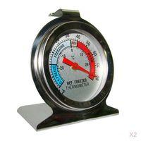 2 Stücke Kühlschrank Gefrierschrank Thermometer aus Edelstahl, 6,8 × 6 cm