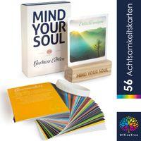 OfficeTree Achtsamkeitskarten Set 56 Karten – Business Edition – mit Kartenhalter aus Eschenholz