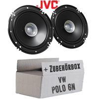 VW Polo 6N - Lautsprecher Boxen JVC CS-J610X - 16,5cm Auto Einbauzubehör 300Watt Koaxe KFZ PKW Paar  - Einbauset