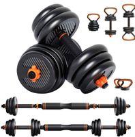 Dripex Hanteln Set 6 in 1, Kettlebell Langhanteln mit Verbindung Stahlrohr, Geeignet für das Muskeltraining Aller Teile, professionell Dumbbell Gewichten 20kg