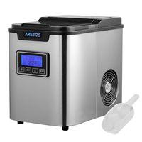 AREBOS Eiswürfelmaschine Edehlstahl 2,2L LCD Eiswürfelbereiter Icemaker 12KG/24h