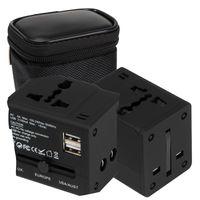 Reisestecker / Reiseadapter für alle Länder und 2 USB Anschlüssen